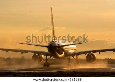 Airliner at Dawn - stock photo