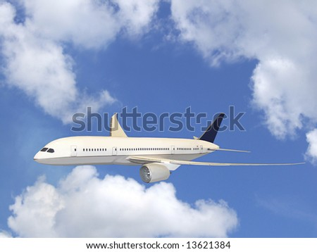 Airliner in flight with beautiful blue sky and puffy white clouds. - stock photo