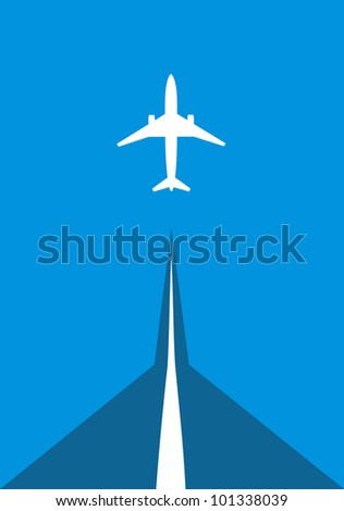 airliner on runway to follow the sky upwards - stock photo