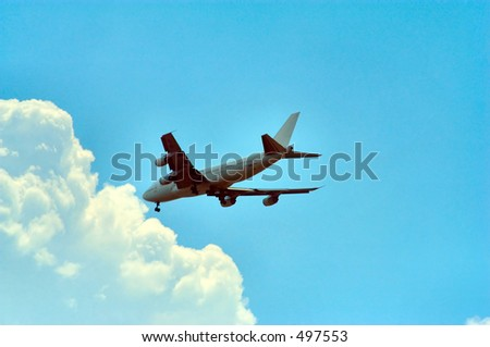 Airliner preparing to land - stock photo
