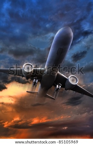 Airliner Take Off Illustration. 3D Render Jet Plane Take Off Illustration. Colorful Stormy Sky. Vertical Image. - stock photo