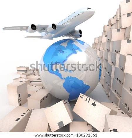 Airliner with a globe and boxes - stock photo