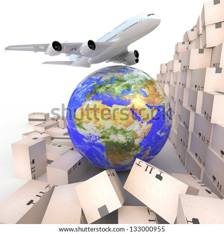 Airliner with a globe and boxes on white. 3d Elements of this image furnished by NASA. - stock photo