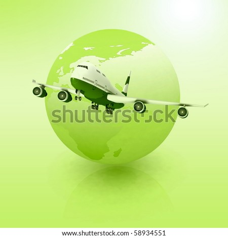 airliner with a globe in the background - stock photo