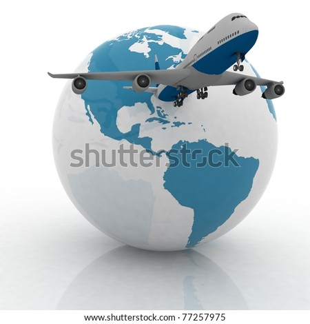 airliner with a globe in the white background - stock photo