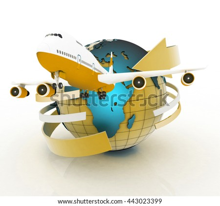 Airliner with a globe in the white background. 3D rendering - stock photo