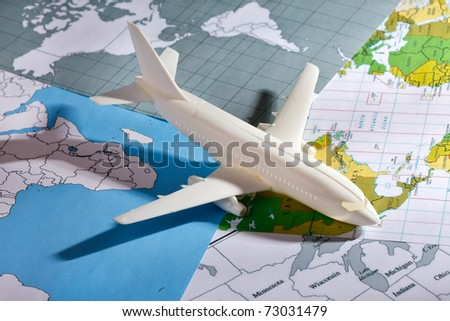 airliner with a maps - stock photo