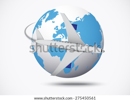Airliner with globe in the white background - stock photo