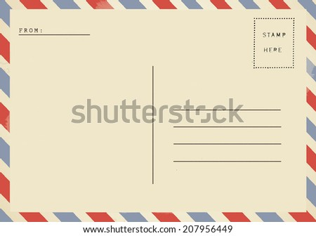 Airmail backside blank postcard. - stock photo