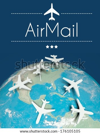 Airmail concept, airplanes on globe - stock photo