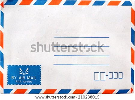 airmail envelope isolate on white - stock photo