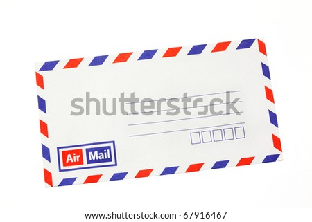 airmail envelope isolate on white. - stock photo