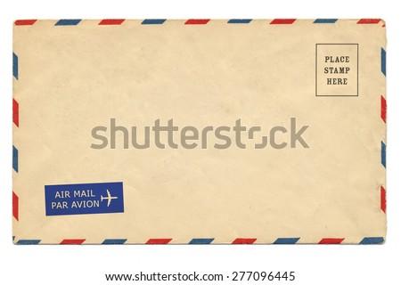 Airmail Envelope isolate on white background - stock photo