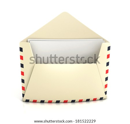 Airmail envelope with papers isolated on white background. 3d illustration. - stock photo