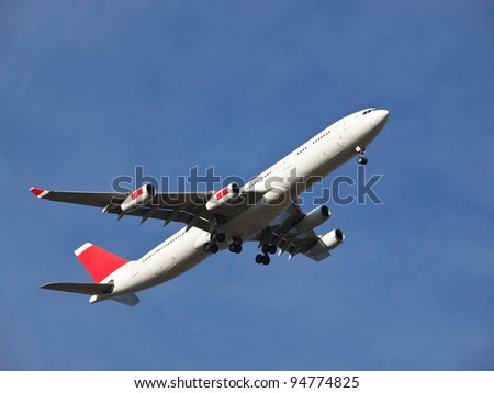 airoplane landing on the airport - stock photo