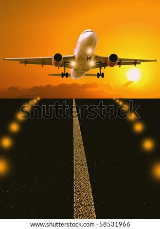 Airplane above runway in sunset - stock photo