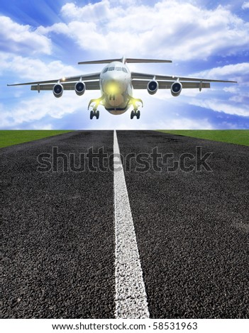 Airplane above runway with sunrays
