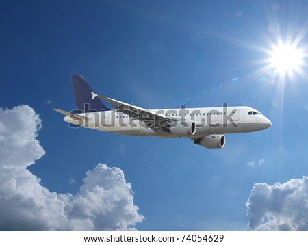 Airplane above sky