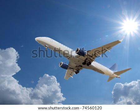 Airplane above sky - stock photo