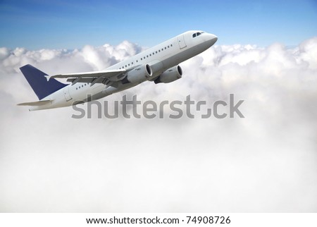 Airplane above sky - stock photo