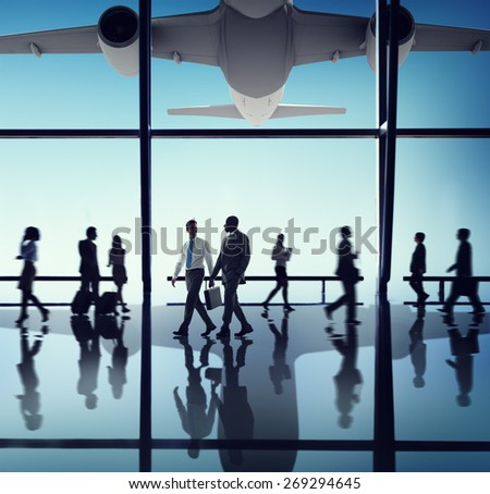 Airplane Aircraft Airport Business Travel Flight Transport Concept - stock photo