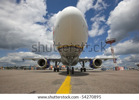 airplane, airport, air, mode, transport, front, - stock photo