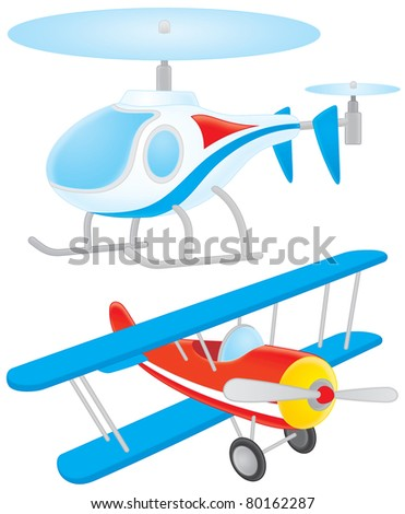 Airplane and helicopter - stock photo