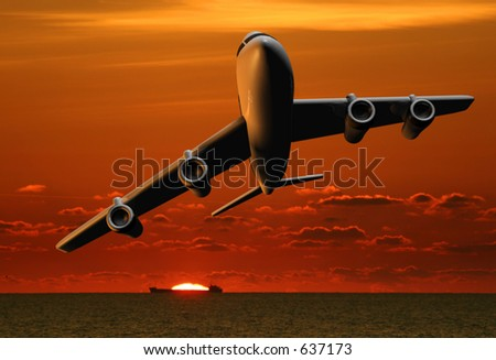 Airplane and ship at sunrise