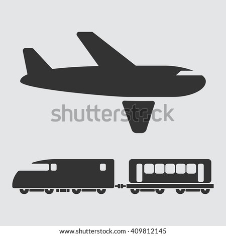 Airplane and train Icons - stock photo