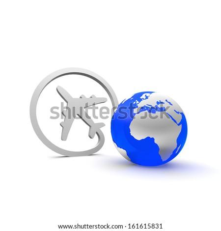 Airplane and world - stock photo