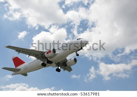 Airplane at take-off - stock photo