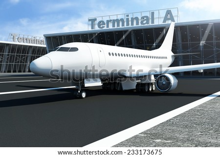 Airplane at the Airport Waits near the Terminal. Passenger Airliner of My Own Design - stock photo