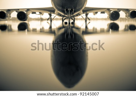 Airplane at the Donmaung International Airport in Thailand in the water from the floods. - stock photo