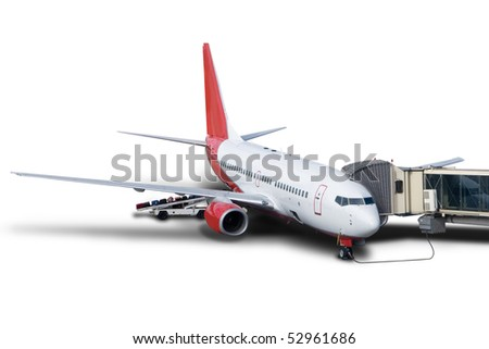 Airplane at the gate isolated on white - stock photo