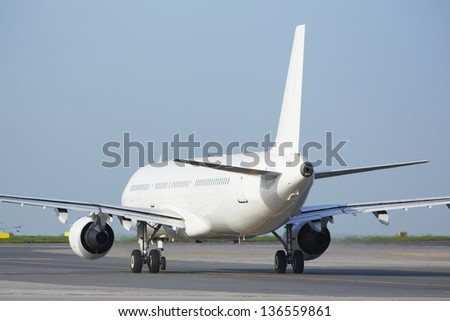 Airplane at the runway - copy space