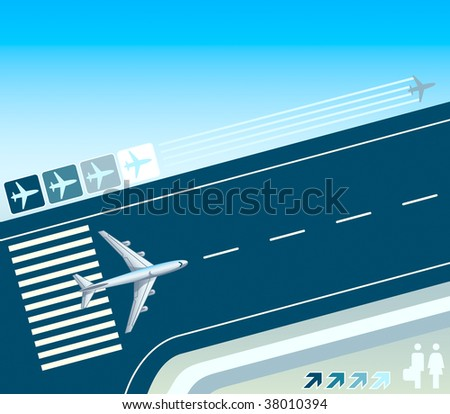 Airplane at the take-off strip concept illustration - stock photo