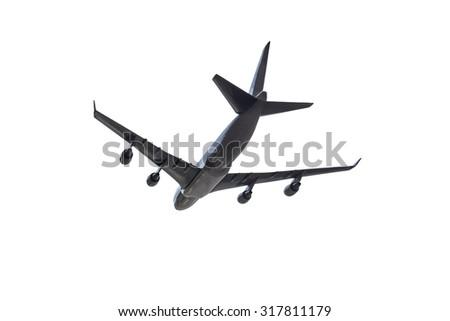 Airplane below under white background - stock photo