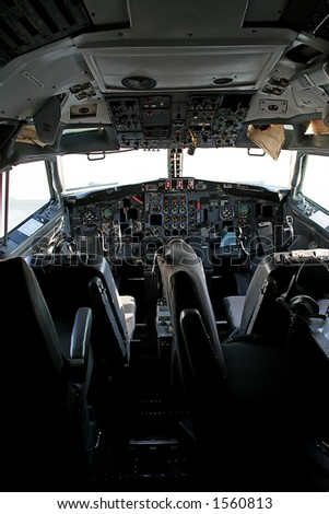 Airplane cockpit - stock photo