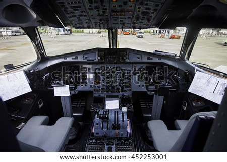 airplane cockpit view - stock photo