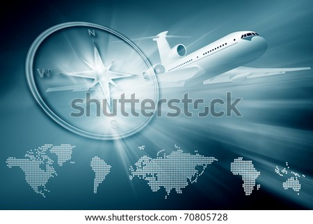 airplane, compass, continent maps on abstract blue background - stock photo