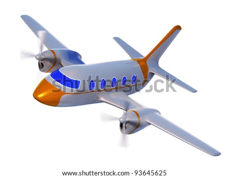 Airplane, 3d, isolated - stock photo