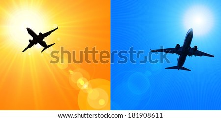 airplane dark silhouette, blue sky and sunset background