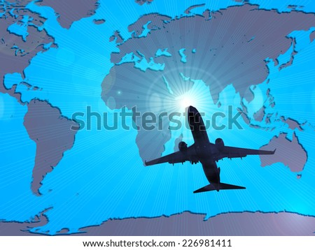 airplane dark silhouette, sky and world map background