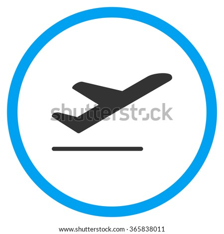 Airplane Departure glyph icon. Style is bicolor flat circled symbol, blue and gray colors, rounded angles, white background. - stock photo