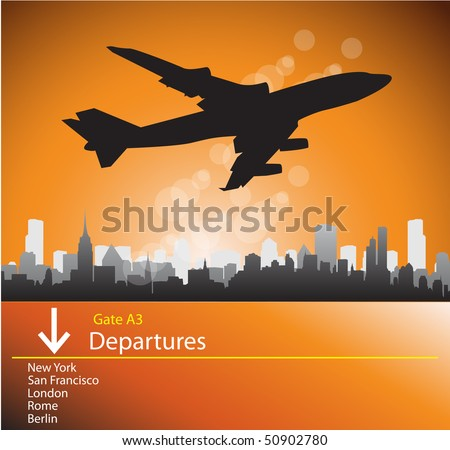 Airplane departures - stock photo