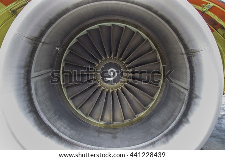 airplane engine front view close up