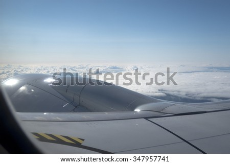 Airplane engine in flight