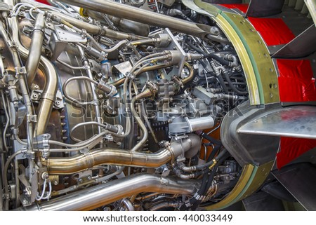 airplane engine side view close up