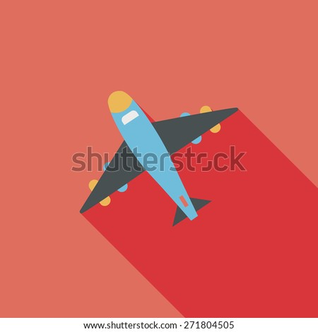 airplane flat icon with long shadow - stock photo