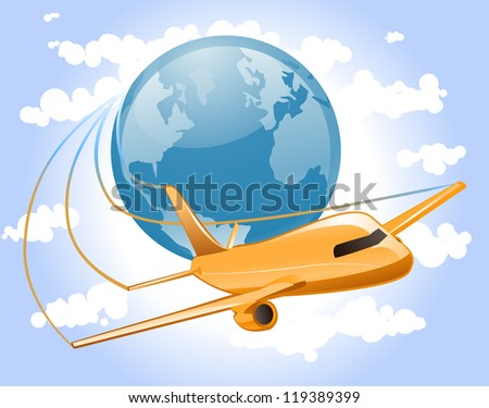 Airplane flies across the sky circling the globe representing world travel. - stock photo